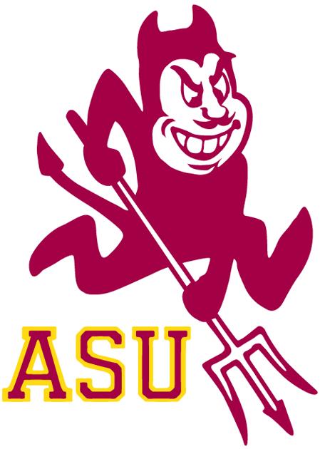 Arizona State Sun Devils Logo Alternate Logo (1980-2010) - A red and white cartoon devil with a pitchfork with ASU SportsLogos.Net
