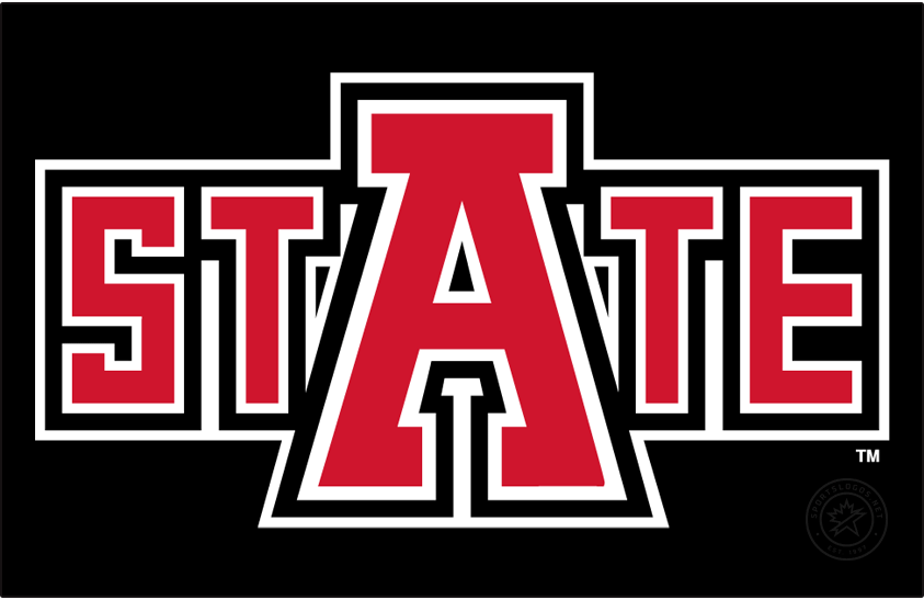 Arkansas State Red Wolves Logo Alt on Dark Logo (2008-Pres) - State Mark. Features an oversized A for Arkansas atop STATE. SportsLogos.Net