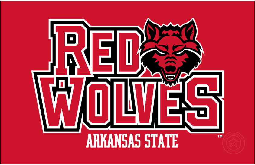 Arkansas State Red Wolves Logo Alt on Dark Logo (2015-Pres) - This logo was previously a Secondary from 2008-2015, then became the 2nd preferred logo after the Wolf Head. The black outline\'s miter point was also fixed at this time. SportsLogos.Net