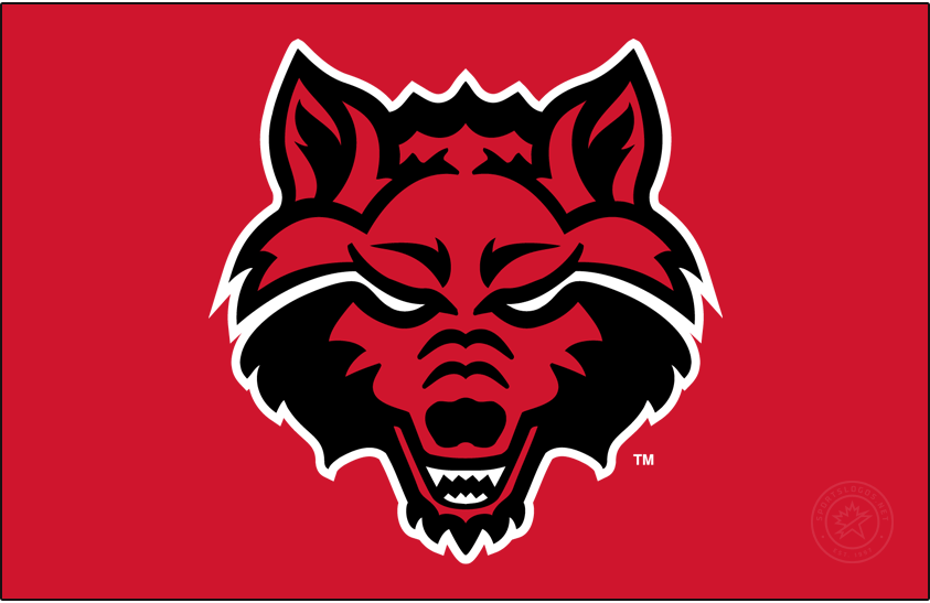 Arkansas State Red Wolves Logo Primary Dark Logo (2015-Pres) - The Wolf Head logo was promoted to Primary after being being an Alternate since its debut in 2008. The white outline should always be included so the eyes stay white regardless of the background. SportsLogos.Net