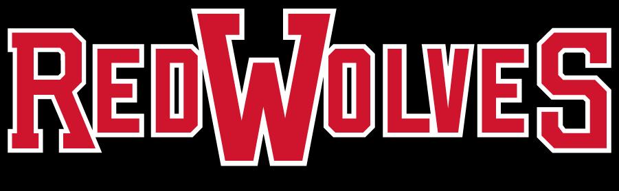 Arkansas State Red Wolves Logo Secondary Logo (2008-2015) - RED WOLVES above smaller ARKANSAS STATE. Can be considered a wordmark as well. SportsLogos.Net