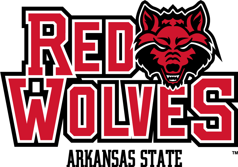 Arkansas State Red Wolves Logo Secondary Logo (2008-2015) - Stacked RED WOLVES beside Head logo above ARKANSAS STATE. SportsLogos.Net