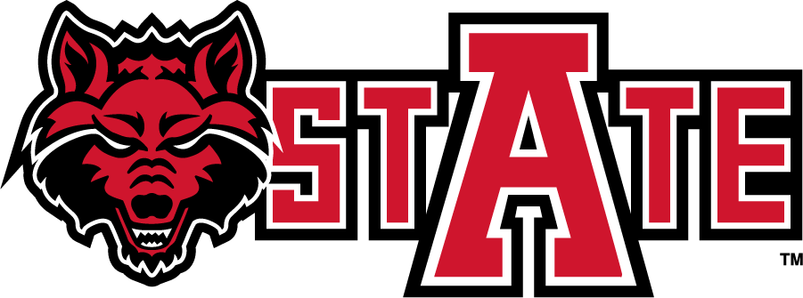 Arkansas State Red Wolves Logo Secondary Logo (2008-2015) - Wolf head logo beside State mark. SportsLogos.Net