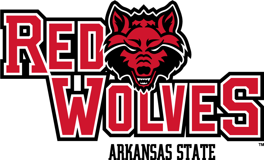 Arkansas State Red Wolves Logo Secondary Logo (2015-Pres) - This logo was previously the Primary from 2008 through 2015. The black outline\'s miter point was fixed at this time. SportsLogos.Net