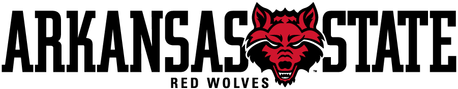 Arkansas State Red Wolves Logo Secondary Logo (2017-Pres) - Wolf head between ARKANSAS STATE over smaller RED WOLVES. This debuted around 2017. SportsLogos.Net