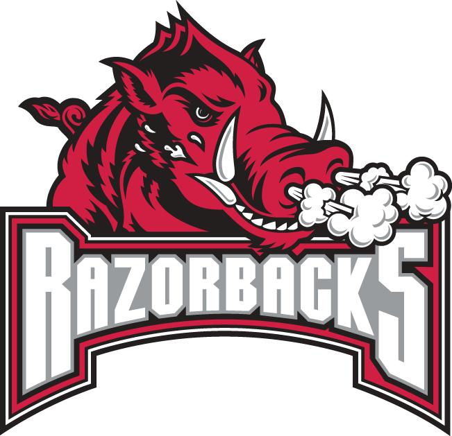 Arkansas Razorbacks Logo Secondary Logo (2001-2008) - A hog blowing smoke over Razorback script SportsLogos.Net