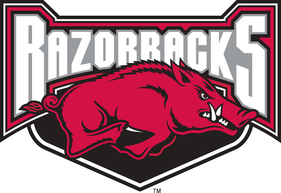 Arkansas Razorbacks Logo Alternate Logo (2001-2008) - Razorback running underscript on a shield SportsLogos.Net