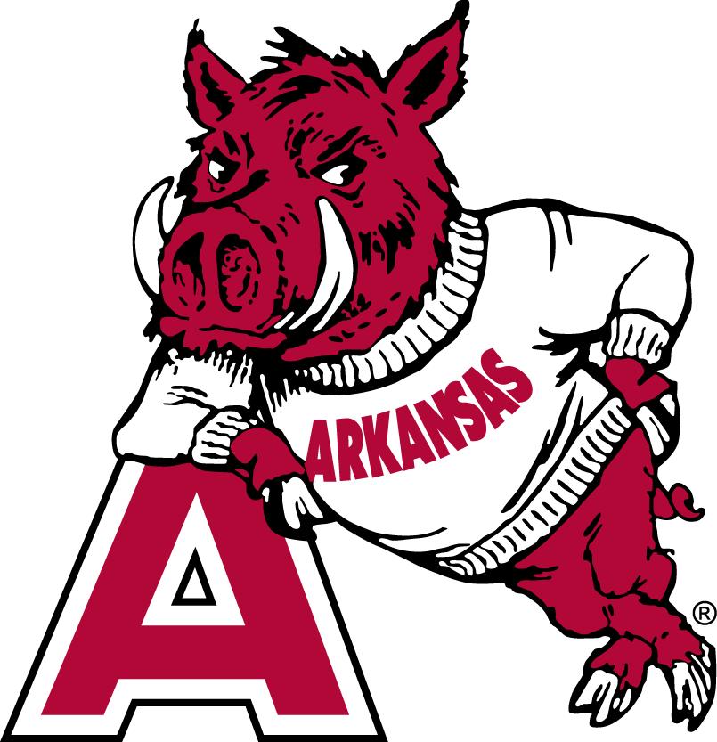 Arkansas Razorbacks Logo Secondary Logo (1955-1973) - Hog leaning on a Red A SportsLogos.Net