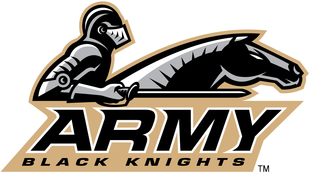 Army Black Knights Logo Alternate Logo (2006-2014) - Knight with horse and script in a black oval SportsLogos.Net