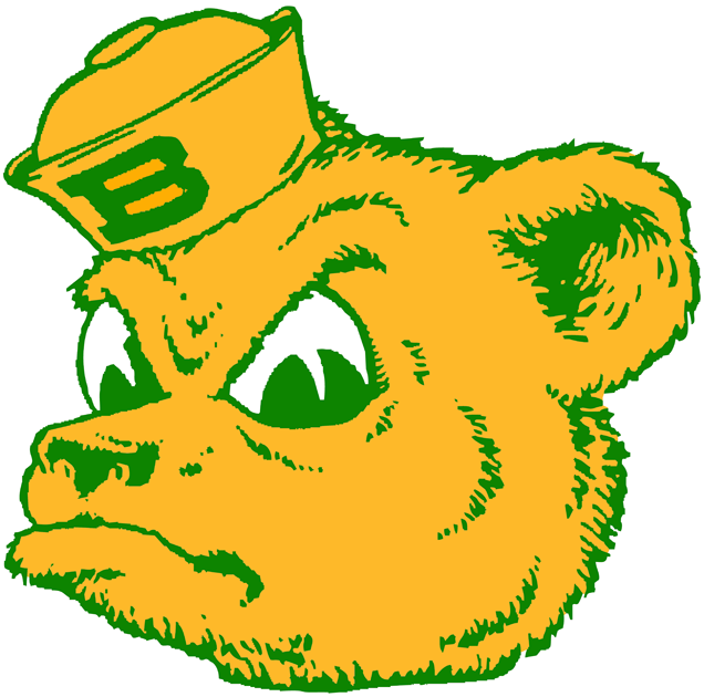 Baylor Bears Logo Primary Logo (1969-1996) - Yellow Bear head with hat and Green B SportsLogos.Net