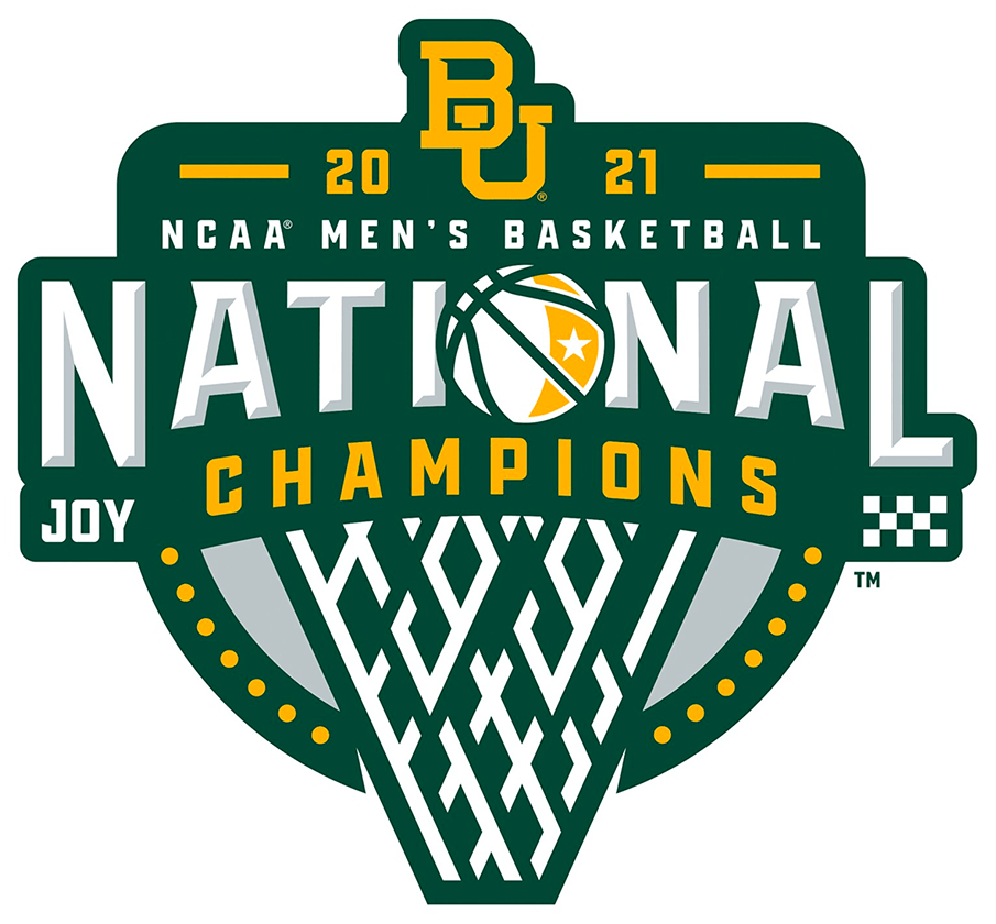 Baylor Bears Logo Champion Logo (2021) - The Baylor Bears 2021 National Champions Men's Basketball Logo contains several hidden elements, a star on the basketball for their home state of Texas, 14 yellow dots along the bottom of the logo for the 14 players on the team, JOY on the left side is the team motto of Jesus, Others, Yourself, a checkered flag on the right side for crossing the finish line in Indianapolis, and finally a 99 incorporated into the basket references the 99 players Coach Scott Drew has coached in his 18 seasons. SportsLogos.Net