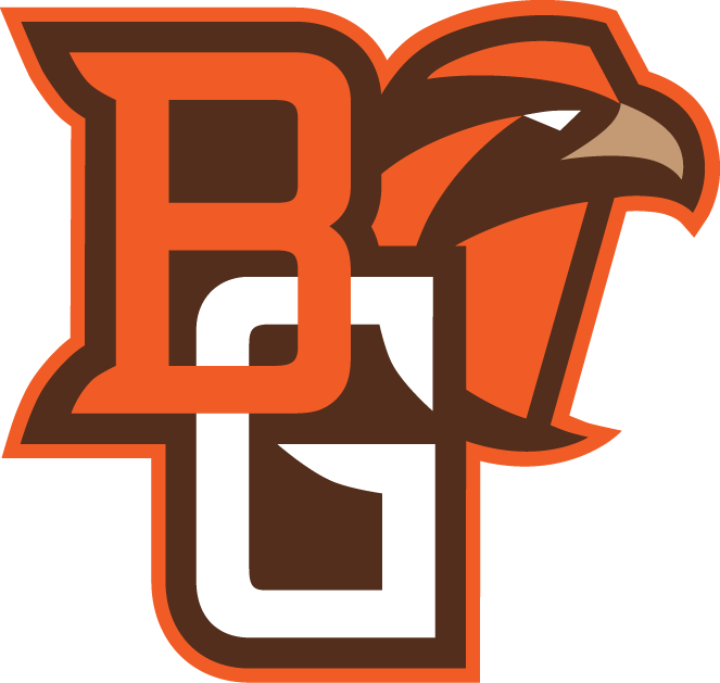Bowling Green Falcons Logo Alternate Logo (2006-2011) - Interlocking BG in brown orange and white with Falcon head SportsLogos.Net