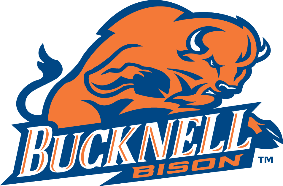 Bucknell Bison Logo Primary Logo (2002-Pres) - An orange bison charging over script SportsLogos.Net