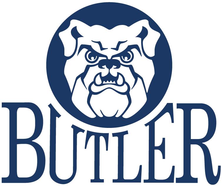 Butler Bulldogs Logo Primary Logo (1990-2014) - Bulldog head in blue circle over script SportsLogos.Net
