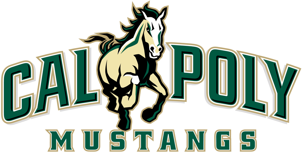 Cal Poly Mustangs Logo Primary Logo (1999-2006) - Cream colored mustang run over scripted banner SportsLogos.Net