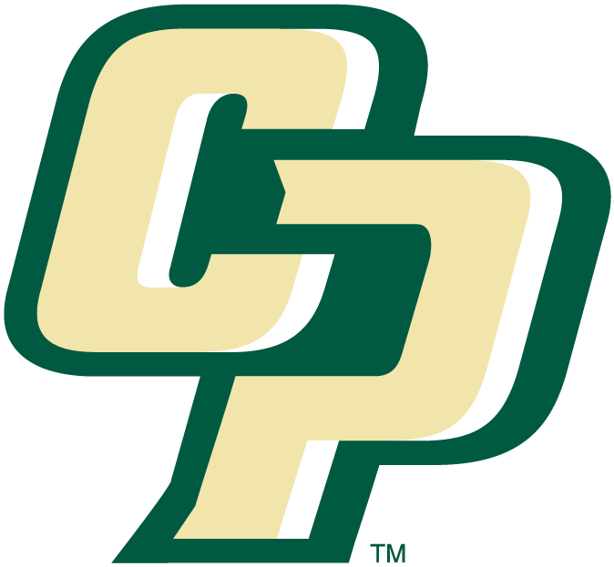 Cal Poly Mustangs Logo Alternate Logo (1999-Pres) - Interlocking cream CP oulined in green SportsLogos.Net