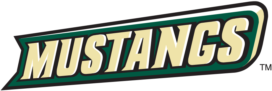 Cal Poly Mustangs Logo Wordmark Logo (1999-Pres) - Mustangs in cream on a green banner SportsLogos.Net