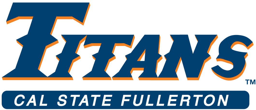 Cal State Fullerton Titans Logo Wordmark Logo (1992-2009) - Titans in blue with orange out line above bar with school name SportsLogos.Net