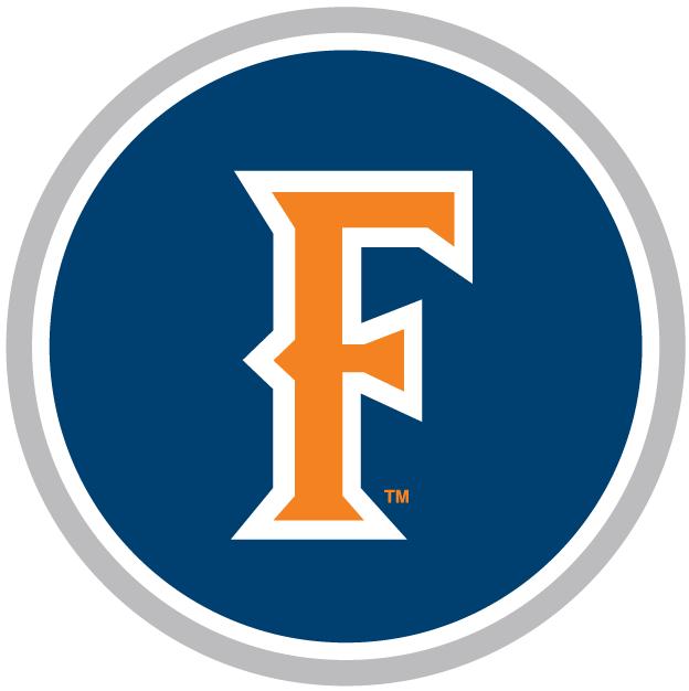 Cal State Fullerton Titans Logo Alternate Logo (2000-2009) - An Orange F on a Blue Circle with silver outline SportsLogos.Net