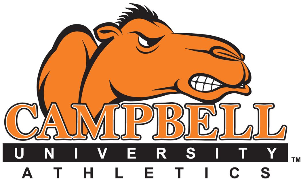 Campbell Fighting Camels Logo Wordmark Logo (2005-2007) - Angry orange Camel over script SportsLogos.Net