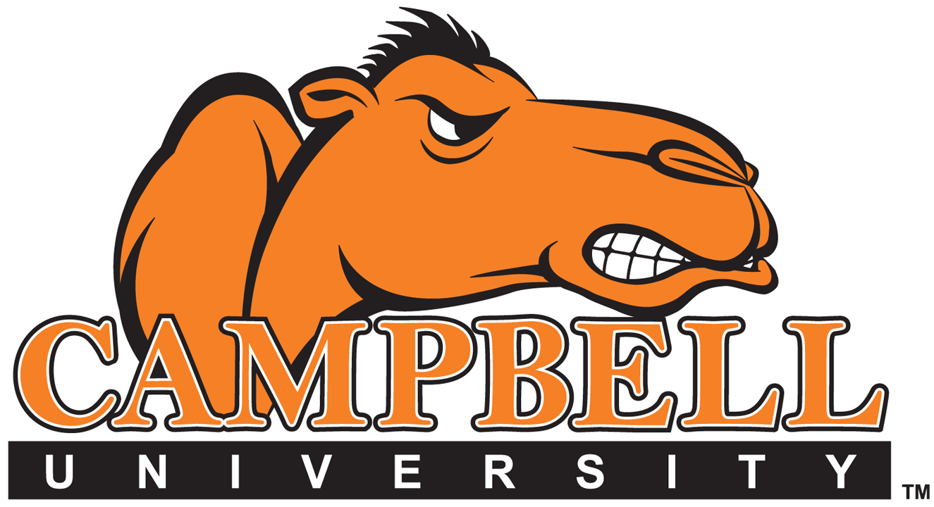 Campbell Fighting Camels Logo Wordmark Logo (2005-2007) - Angry orange Camel over script with city name SportsLogos.Net