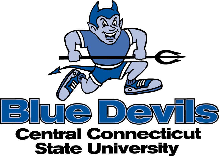 Central Connecticut Blue Devils Logo Primary Logo (1994-2010) - A blue Devil running with a pitchfork SportsLogos.Net