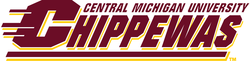 Central Michigan Chippewas Logo Wordmark Logo (1997-Pres) - Chippewas in red with streaks and Central Michigan above SportsLogos.Net
