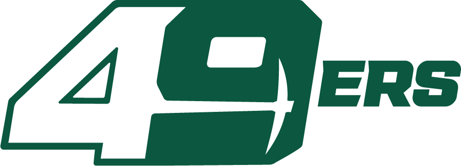 Charlotte 49ers Logo Alternate Logo (2020-Pres) - The Charlotte 49ers introduced a new set of logos in the summer of 2020 including this new tertiary logo showing 49ERS in green and white italics with a pickaxe in the 9 SportsLogos.Net