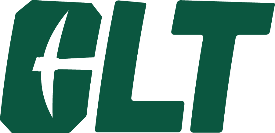 Charlotte 49ers Logo Alternate Logo (2020-Pres) - The Charlotte 49ers introduced a new set of logos in the summer of 2020 including this new secondary mark featuring the local airport code of CLT in green italics with a pickaxe in the C. SportsLogos.Net