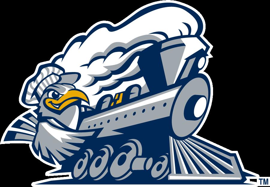 Chattanooga Mocs Logo Alternate Logo (1997-2008) - Mascot Scrappy riding train. SportsLogos.Net