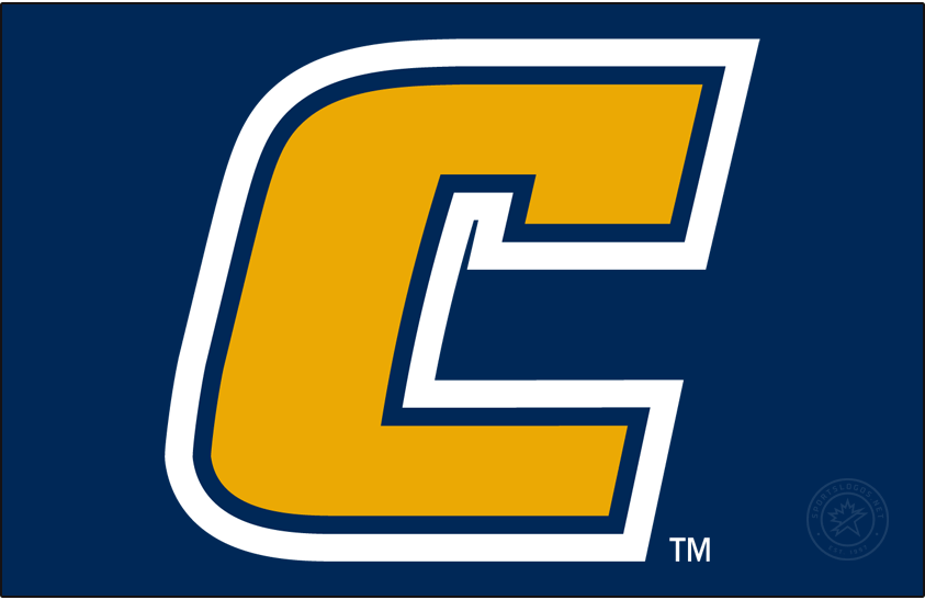 Chattanooga Mocs Logo Primary Dark Logo (2007-2020) - Yellow C with white and blue outlines on blue background. SportsLogos.Net