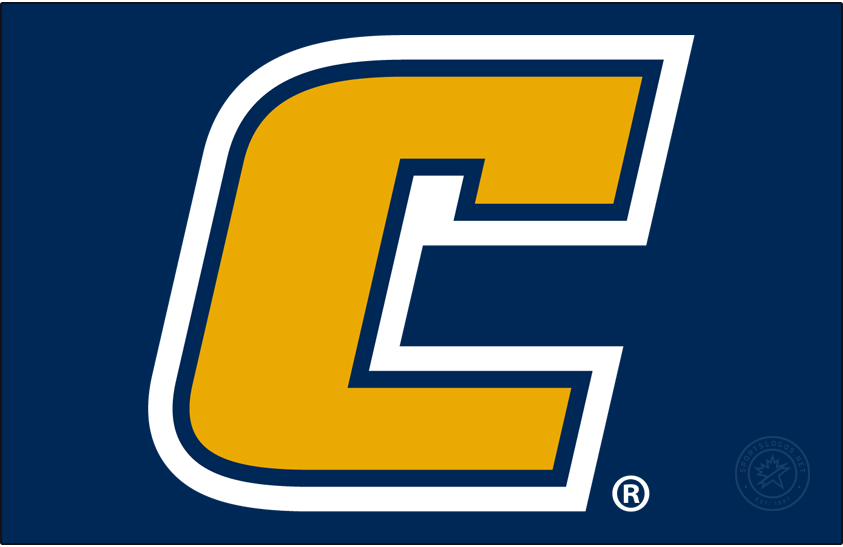Chattanooga Mocs Logo Primary Dark Logo (2020-Pres) -  Yellow C with white and blue outlines with the gap removed. SportsLogos.Net