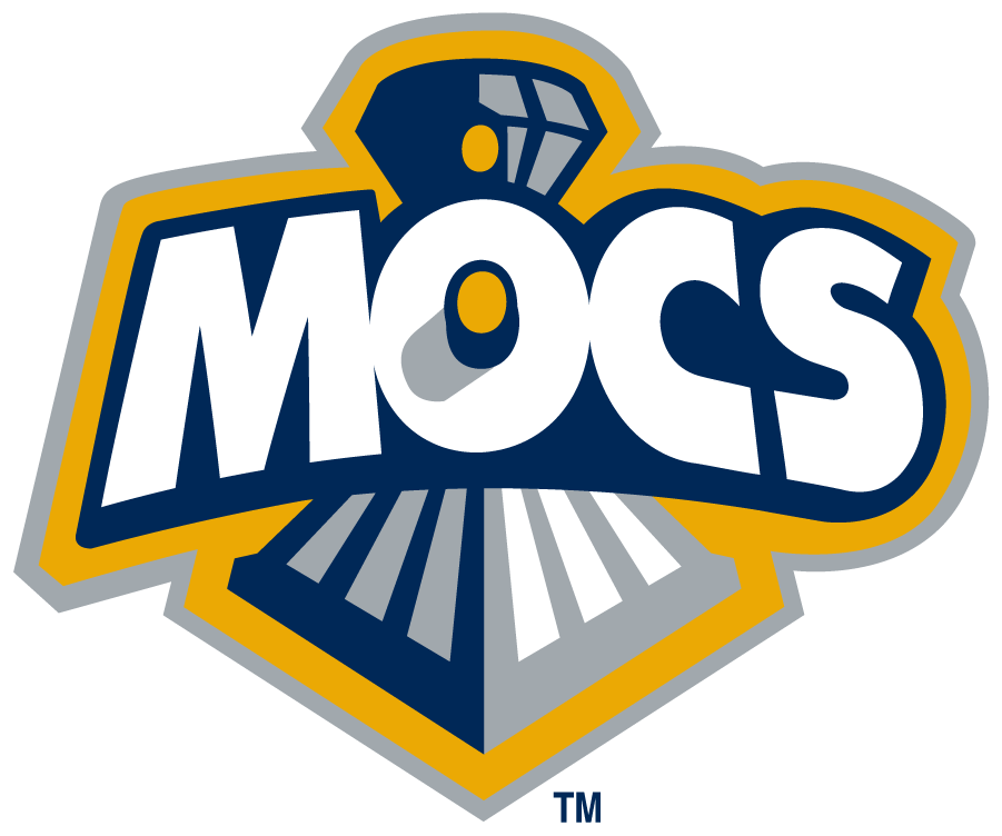 Chattanooga Mocs Logo Secondary Logo (1997-2007) - Arched Mocs on front of train, part of train going through O. This logo was affectionately called the \