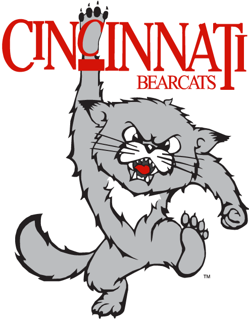 Cincinnati Bearcats Logo Primary Logo (1990-2005) - A stomping cat hanging off team name SportsLogos.Net