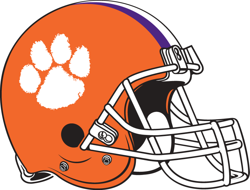 Clemson Tigers Helmet Helmet (1977-Pres) - White pawprint on orange helmet with white facemask and purple-and-white st SportsLogos.Net