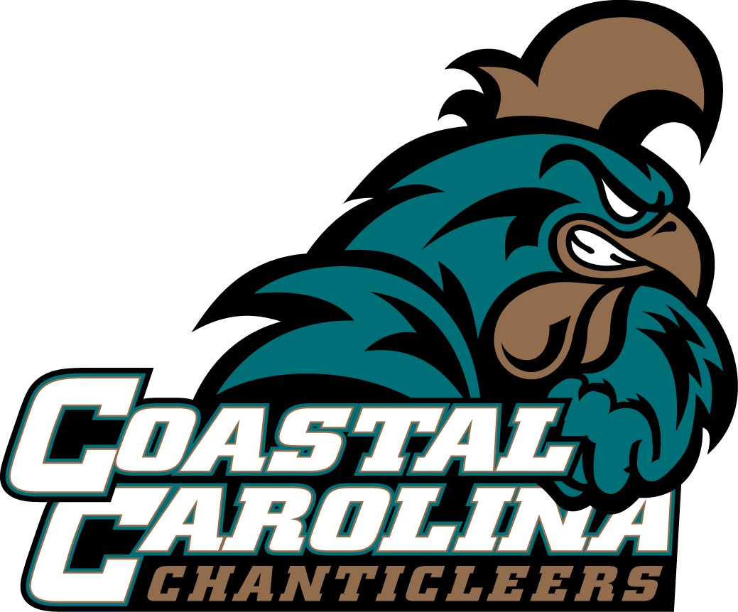 Coastal Carolina Chanticleers Logo Primary Logo (2002-2015) - A rooster shaking jis fist over team script SportsLogos.Net