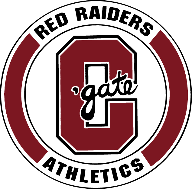 Colgate Raiders Logo Primary Logo (1977-2001) - Red C with gate scripted in a circle SportsLogos.Net