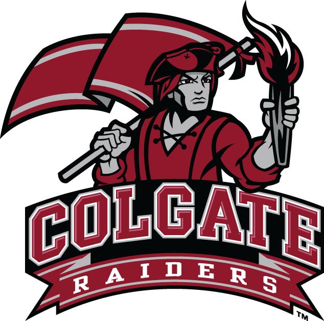 Colgate Raiders Logo Alternate Logo (2002-2019) - Raider with flag above script.   SportsLogos.Net