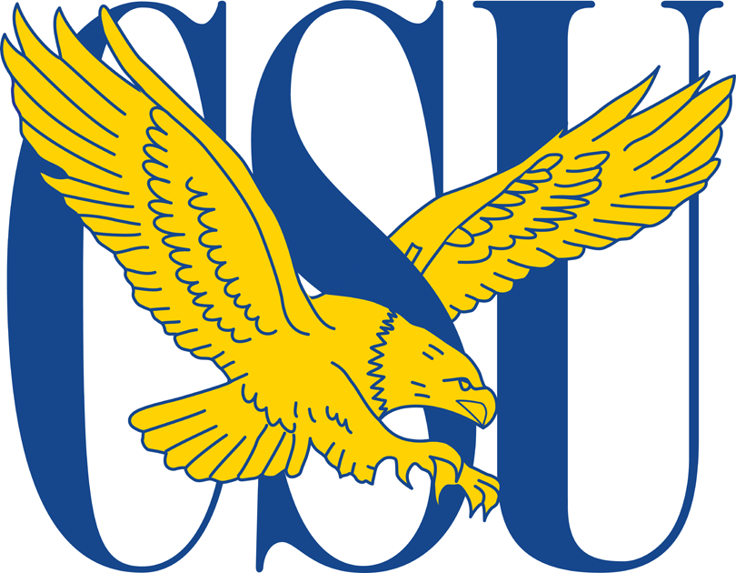 Coppin State Eagles Logo Primary Logo (2004-2016) - Gold Eagle flying across a blue CSU SportsLogos.Net