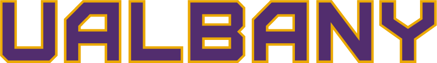 Albany Great Danes Logo Wordmark Logo (2020-Pres) - The University of Albany Great Danes released a new set of logos for the 2020 season including this wordmark logo featuring the nickname of the school UALBANY in purple with gold trim SportsLogos.Net