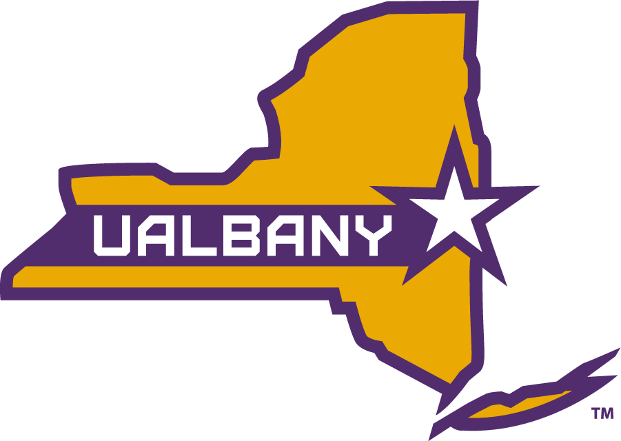 Albany Great Danes Logo Alternate Logo (2020-Pres) - The University of Albany Great Danes released a new set of logos for the 2020 season including this tertiary mark featuring a map of the state of New York in gold and purple with a white star noting the location of the University of Albany SportsLogos.Net