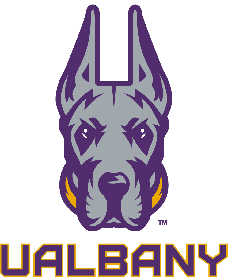 Albany Great Danes Logo Primary Logo (2020-Pres) - The University of Albany Great Danes released their new logo in 2020 feautring a great dane head in silver and purple with a gold collar, below the logo is UALBANY in purple with gold trim.  SportsLogos.Net