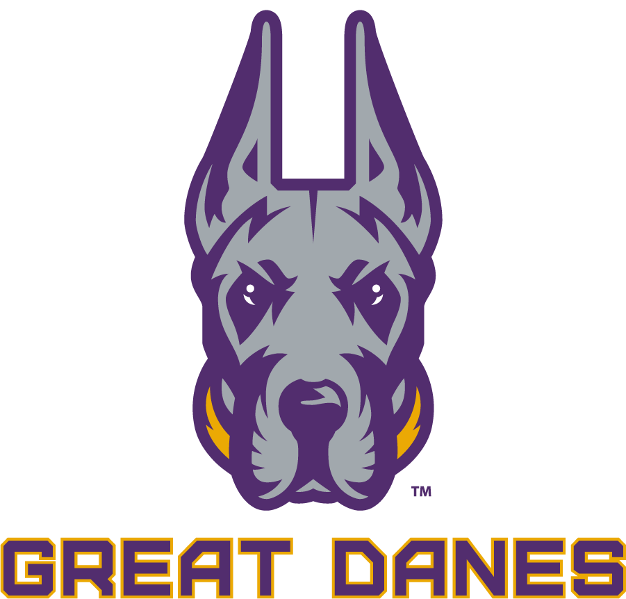 Albany Great Danes Logo Alternate Logo (2020-Pres) - The University of Albany Great Danes released their new logo in 2020 feautring a great dane head in silver and purple with a gold collar, below the logo is GREAT DANES in purple with gold trim SportsLogos.Net