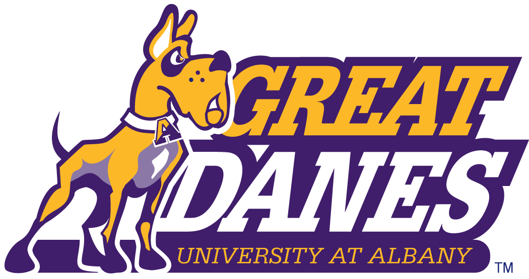 Albany Great Danes Logo Primary Logo (2001-2007) - A yellow dog by script in yellow and purple SportsLogos.Net