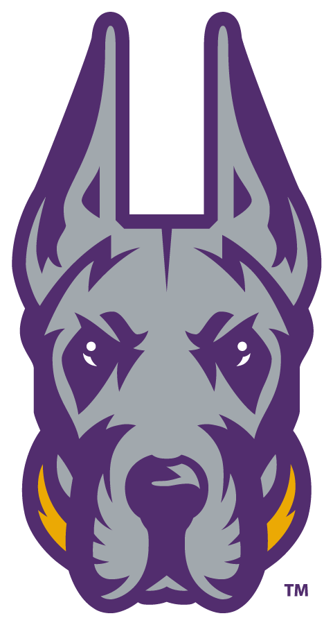 Albany Great Danes Logo Alternate Logo (2020-Pres) - The University of Albany Great Danes released their new logo in 2020 feautring a great dane head in silver and purple with a gold collar SportsLogos.Net