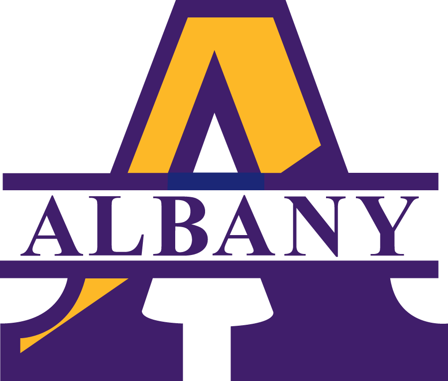 Albany Great Danes Logo Primary Logo (1993-2003) - Blue and Yellow A with Albany in a white strip SportsLogos.Net