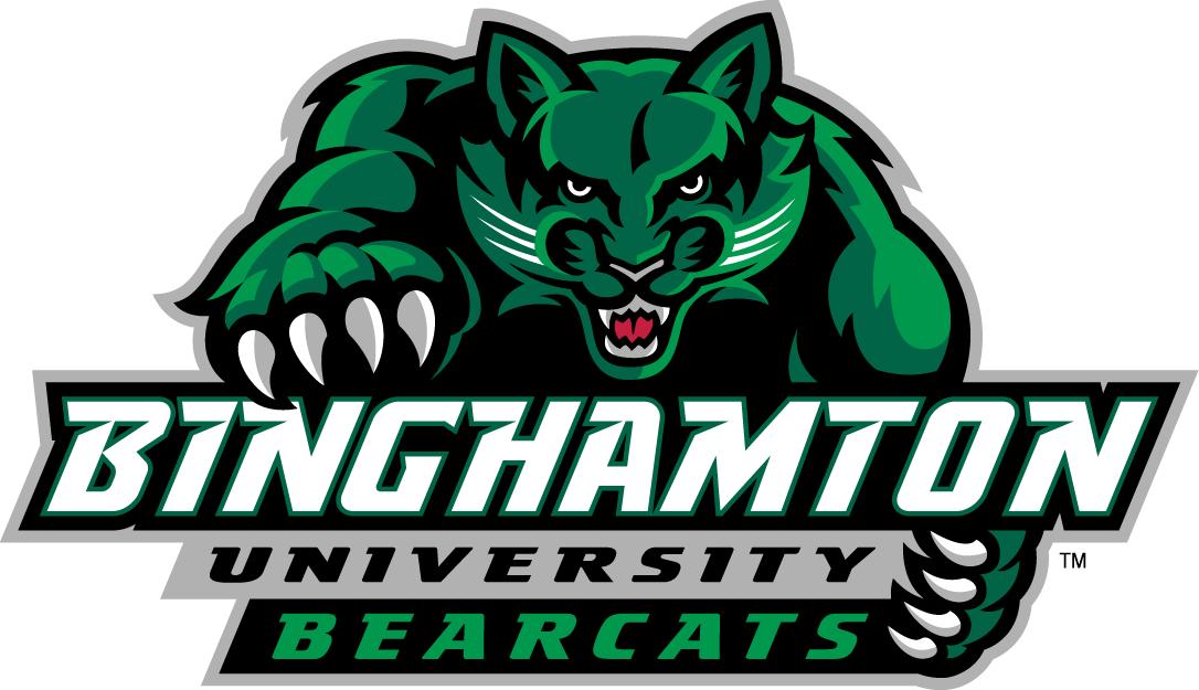 Binghamton Bearcats Logo Primary Logo (2001-Pres) - Green Bearcat over script SportsLogos.Net