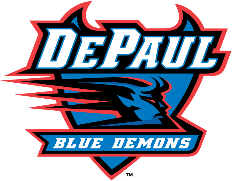 DePaul Blue Demons Logo Primary Logo (1999-Pres) - A streaking demon on a shield with team name SportsLogos.Net