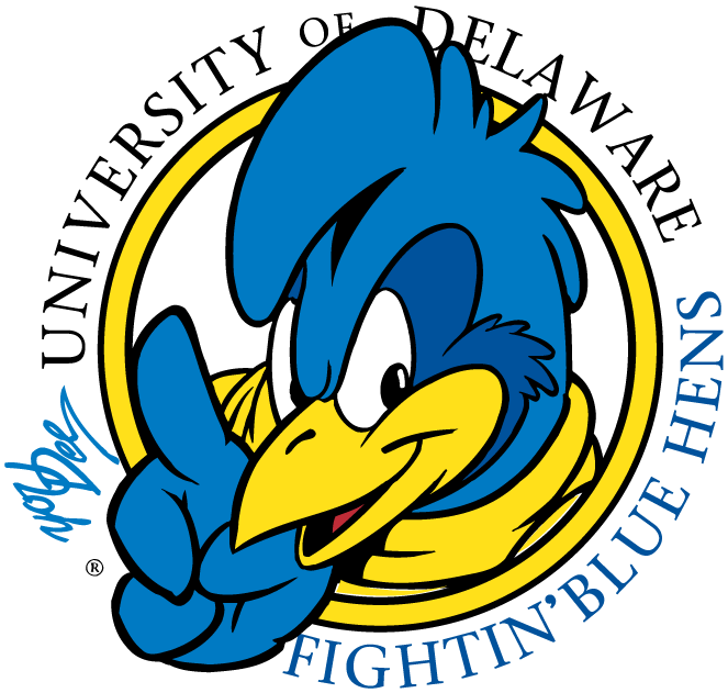 Delaware Blue Hens Logo Primary Logo (1999-2008) - #1 YoUDee mascot - Blue Hen with finger saying #1 in a circle SportsLogos.Net