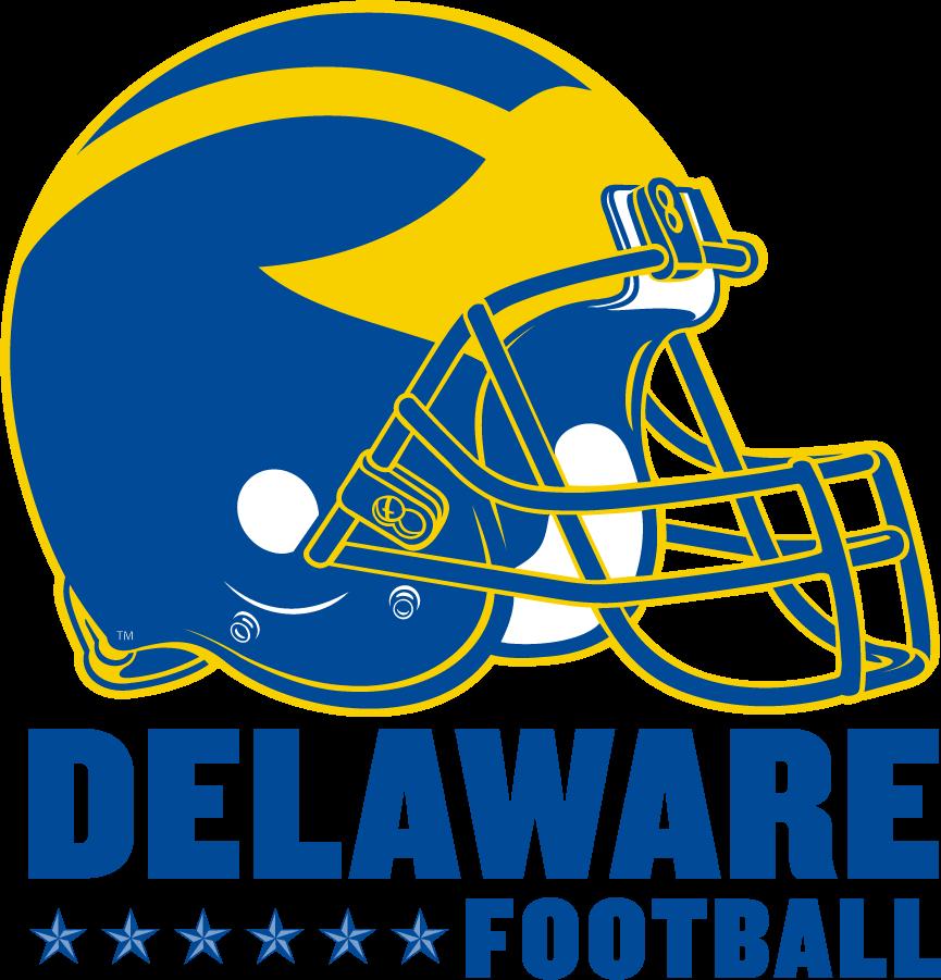 Delaware Blue Hens Helmet Helmet (2014-2016) - Helmet Tradition logo with helmet over Delaware over stars beside Football SportsLogos.Net